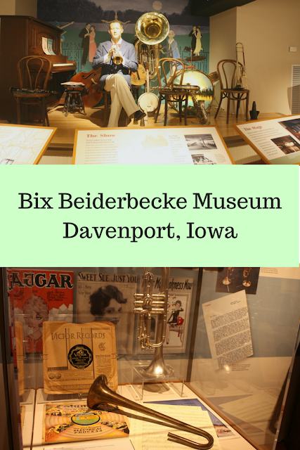 Learning about Bix and jazz at Bix Beiderbecke Museum in Davenport, IA