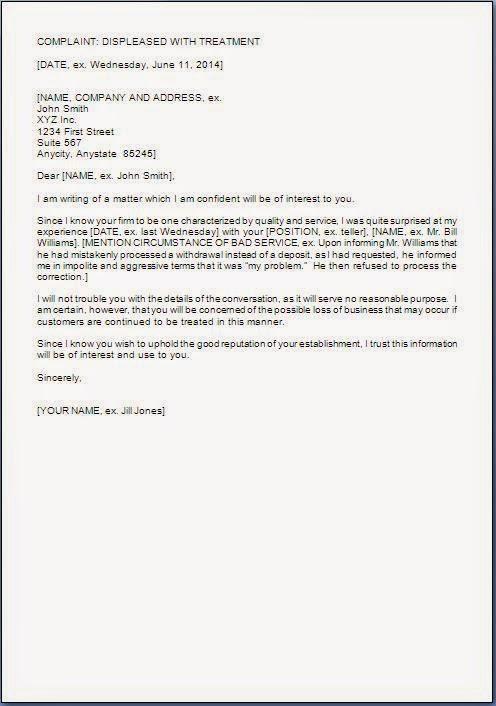 Poor Service Complaint Letter Format