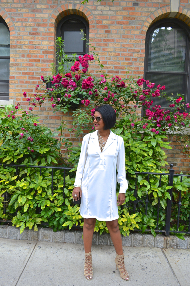 white loose fitting dress