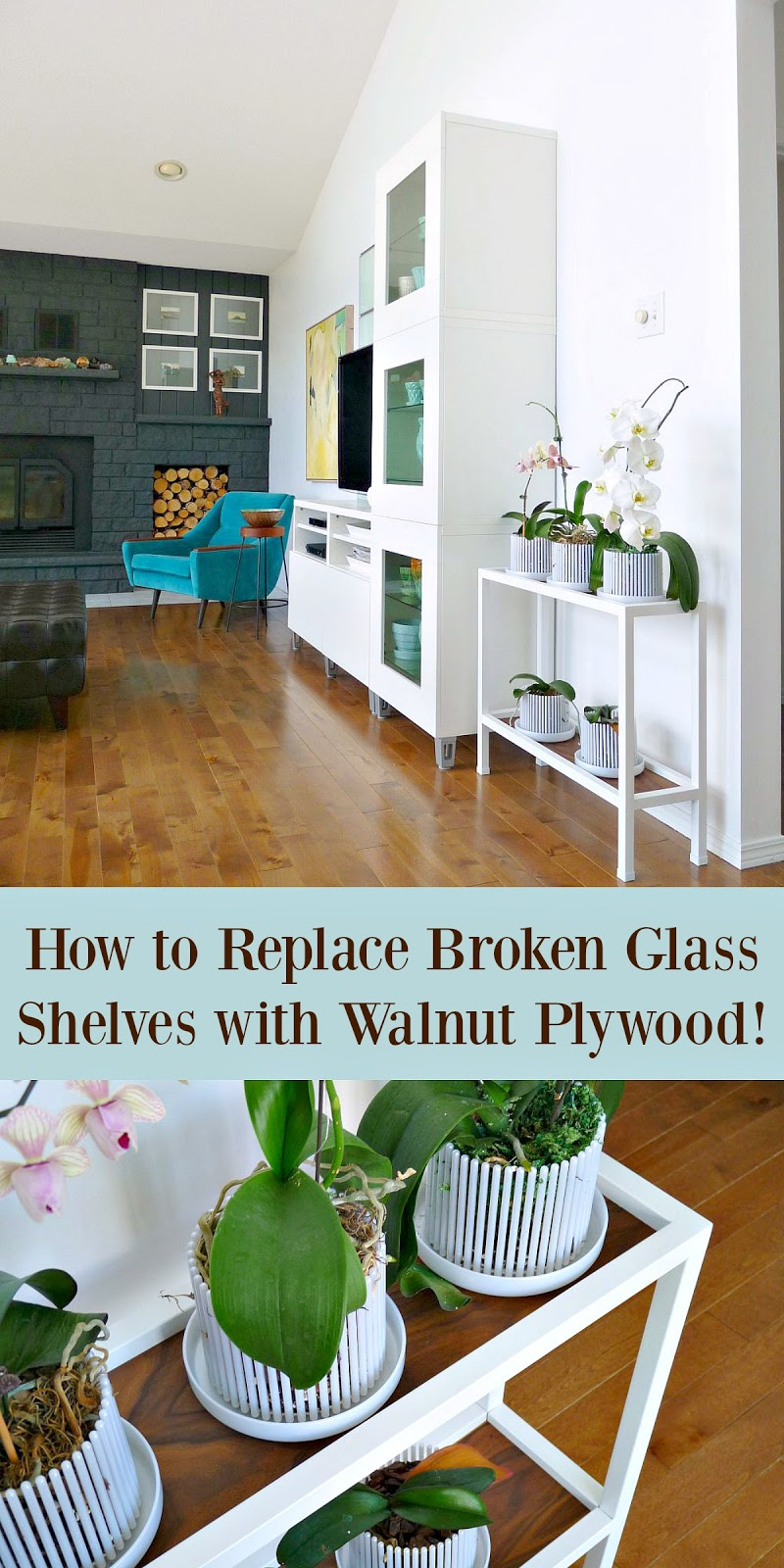 How to replace broken glass shelves with walnut wood