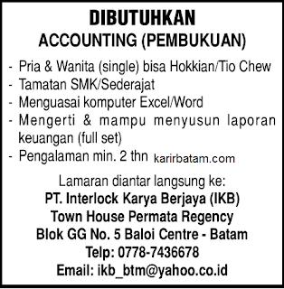 Lowongan Kerja PT. Interlock Karya Berjaya (IKB)
