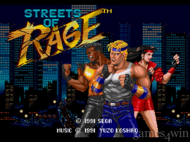 Tela Inicial do game Street of Rage