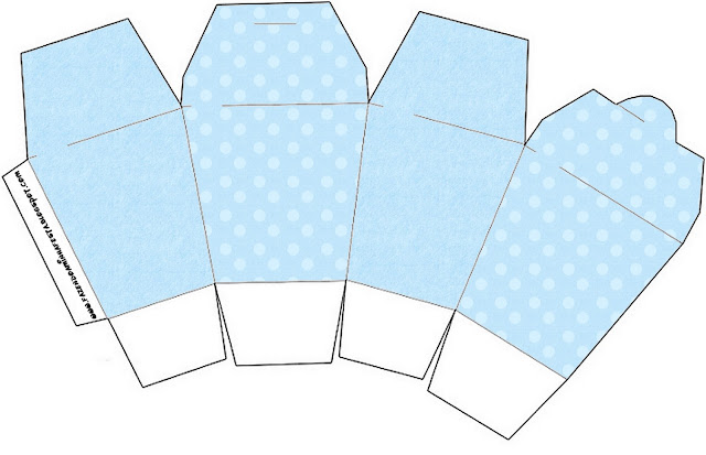 Light Blue with Polka Dots Free Printable Chinese Take Away Box.