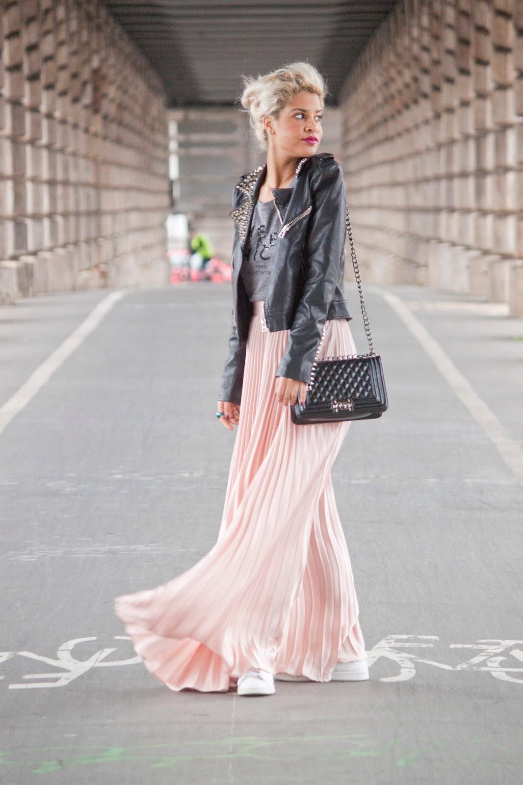 look jupe plissée