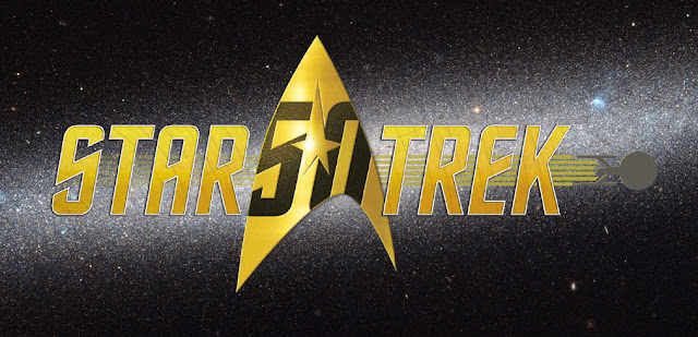 'Star Trek' 50th-anniversary logo: Usual logo, in gold letters, set against a starry space background with '50' inside Starfleet insignia between the 'Star' and 'Trek', and with the Enterprise trailing warp-speed lines through the word 'Trek' and off to its right