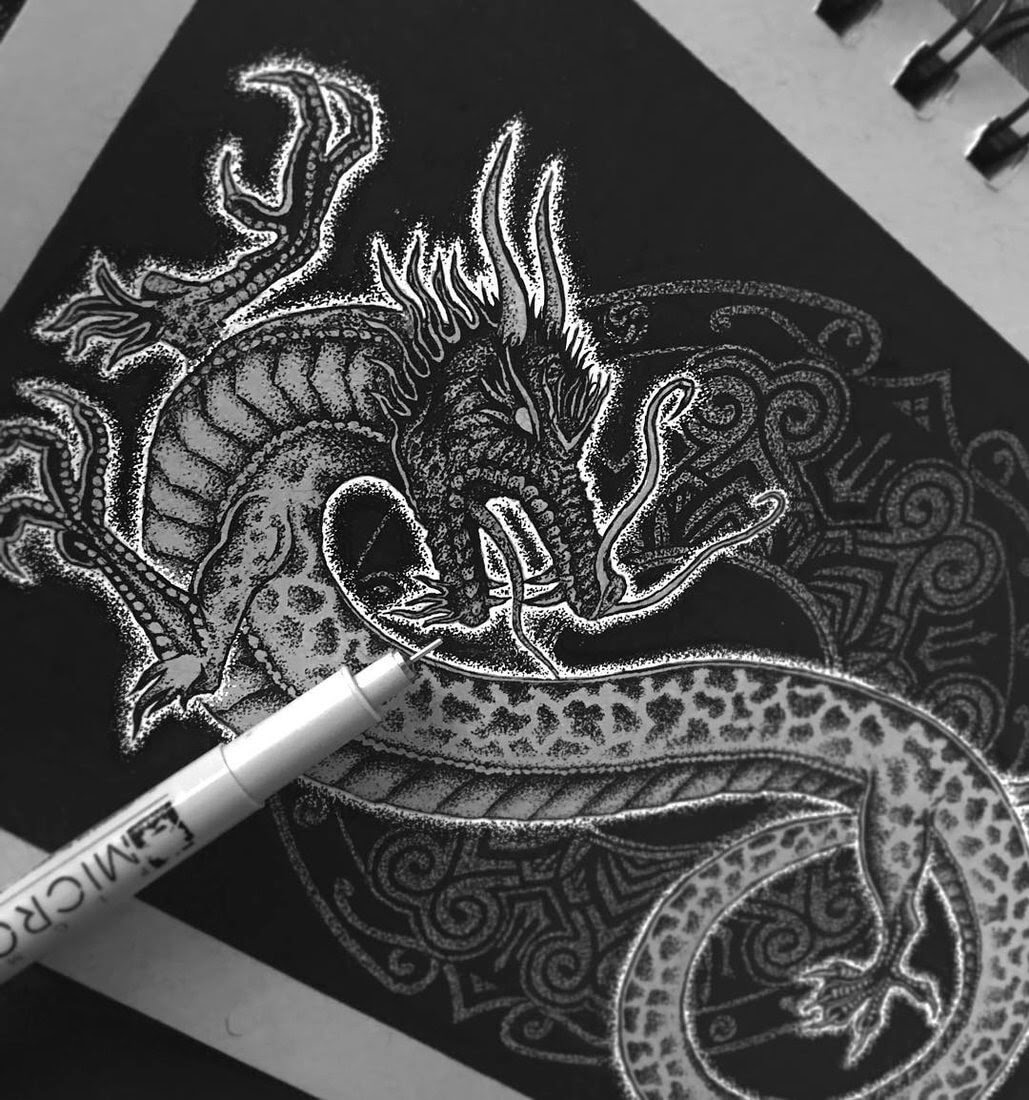 07-The-Dragon-Nicholas-Baker-Stippling-Black-and-White-Drawings-www-designstack-co