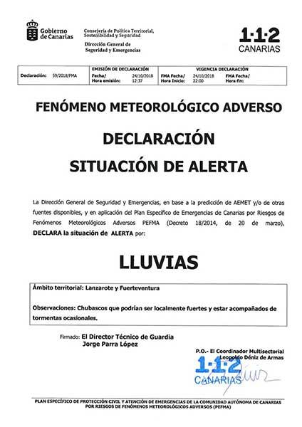 Las isla de Fuerteventura y Lanzarote en alerta por lluvias, 24 octubre 2018