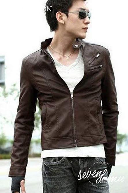 seven domu sk14 jaket kulit korea coklat