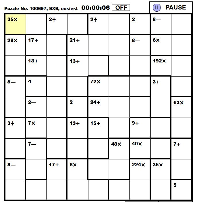 Resource image for printable kenken puzzles 9x9
