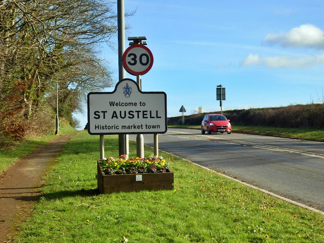 Road sign to St.Austell, Cornwall
