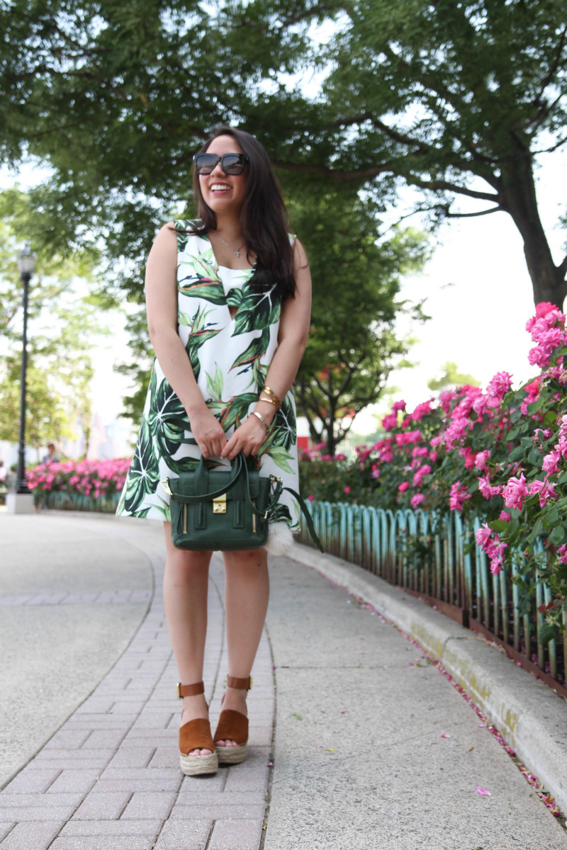 State of Being Holiday Dress Marc Fisher Adalyn Wedges Live Laugh Linda Quinones - A Palm Print Dress & Marc Fisher Adalyn Wedges by popular New York fashion blogger Live Laugh Linda