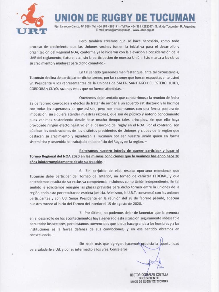 Comunicado URT: conformación del Comité Regional