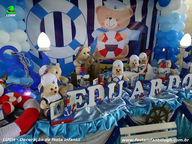 Mesa temática Ursinho Marinheiro - Festa de aniversário infantil