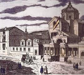 El nuevo edificio para el Congreso, aparecen ya las columnas y leones en la fachada, y detrás se ve la iglesia, posteriormente demolida.