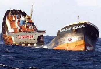 Image result for kapal umno bakal tenggelam