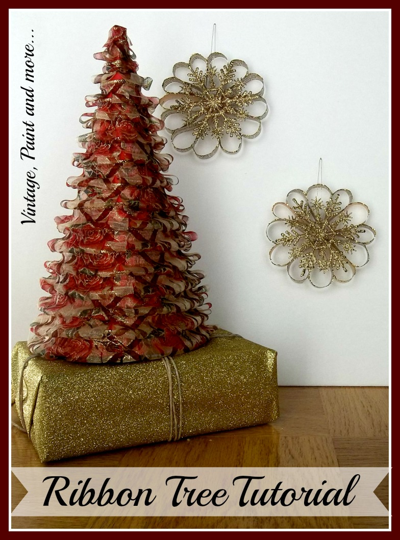 Vintage, Paint and more... DIY cone trees made on a budget with ribbon and poster board