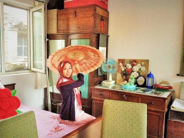 日本人ムスリマの中国風おしゃれレッドヒジャブ