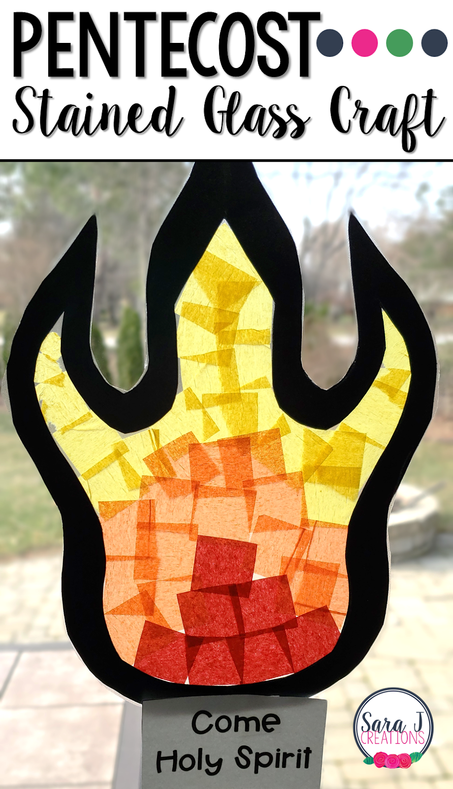 Tissue paper stained glass flame craft