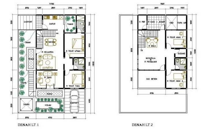 denah rumah hook 2 lantai modern