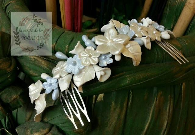 tocado para novia vintage en blanco y azul con flores y hojas artesanales