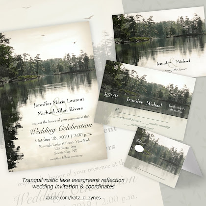Tranquil rustic lake evergreens reflection wedding set from katzdzynes on Zazzle