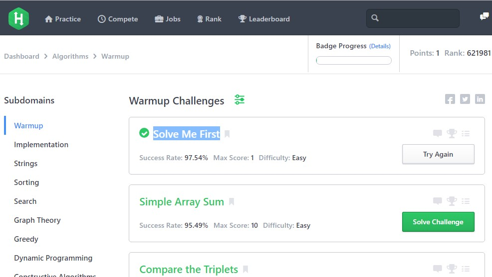 Hackerrank algorithm solution - Solve Me First - Warmup Challange
