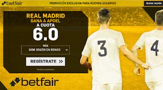 betfair supercuota 6 victoria de Real Madrid a APOEL champions 21 noviembre