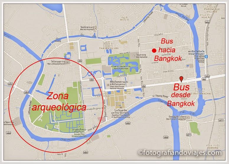 Mapa de Furgonetas de Ayutaya a Bangkok