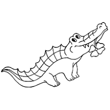 Cute Alligator Coloring Pages With Flower