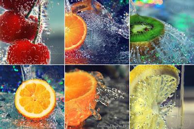 buah difoto dengan percikan air