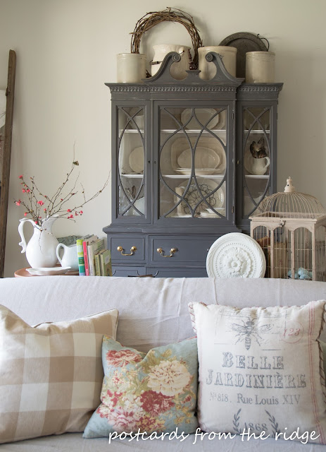 Painted China Cabinet. - love! Lots of great decorating ideas here. Postcards from the Ridge