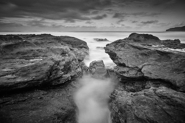 Long exposure, black and white image of Coolum Beach, QLD