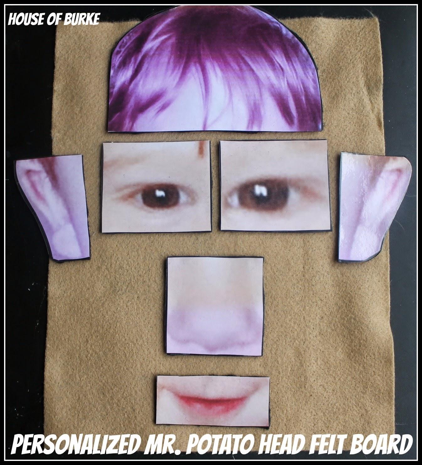 House Of Burke Personalized Mr Potato Head Felt Board