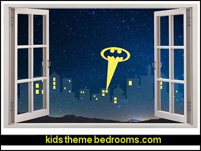 Gotham City Skyline Batman 3D Window View Decal WALL STICKER Decor Art Mural