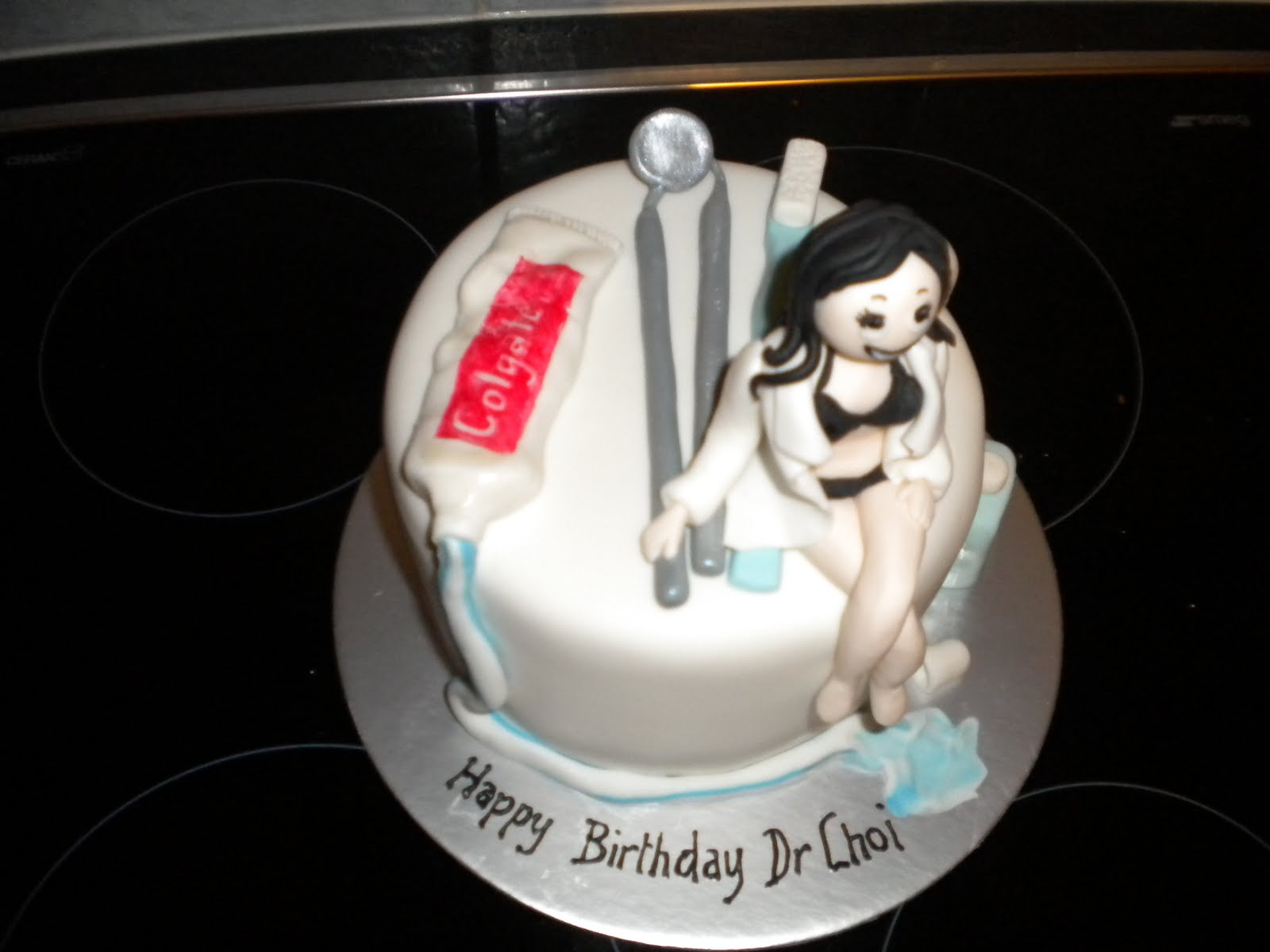 This Was A Cheeky Little Bit Of Fun For The Dentists Birthday At First When I Asked To Make Cake With Girl On It Assumed That Dr Choi