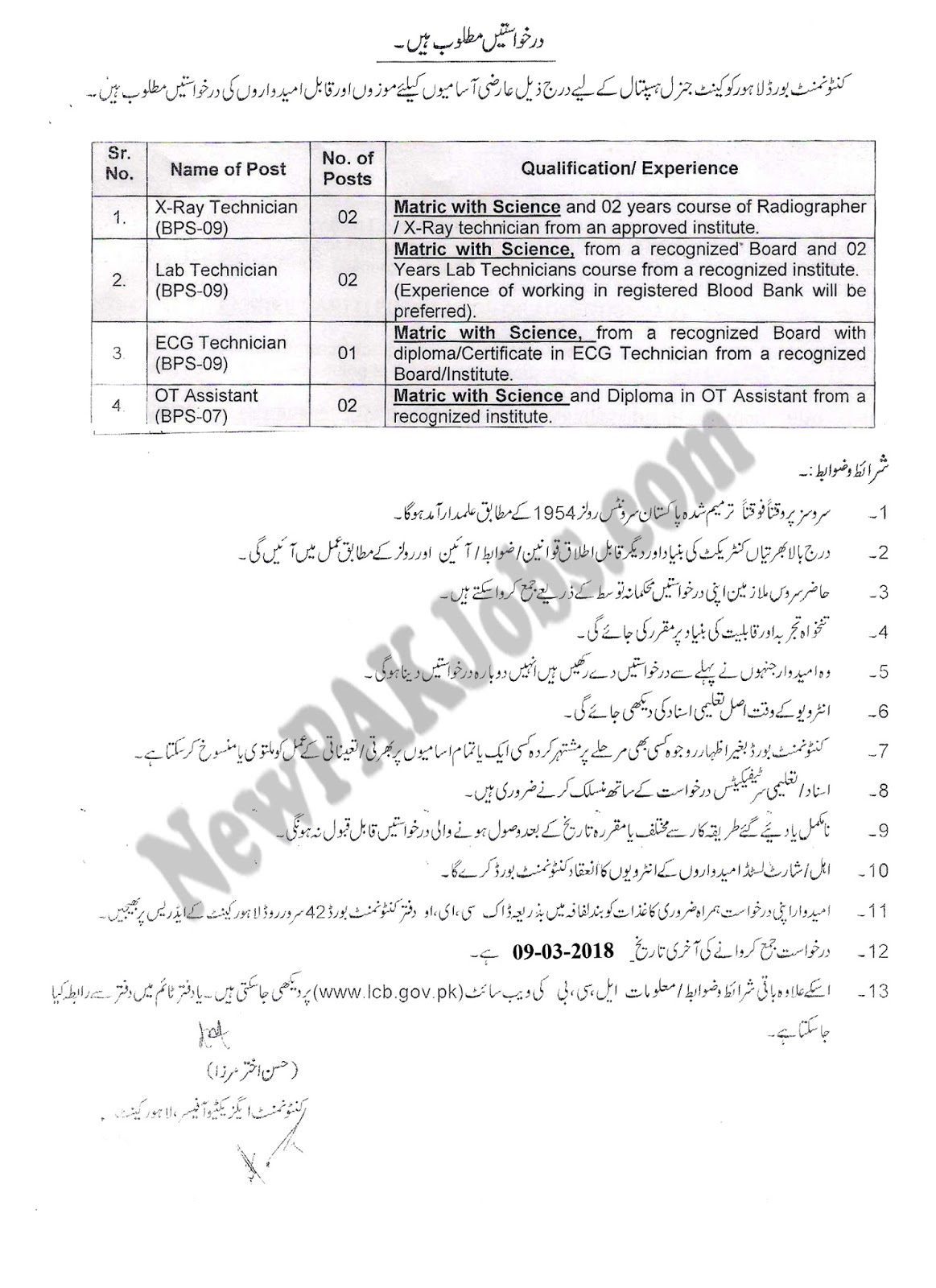 Cantonment Board Lahore Cantt General Hospital, Matric Jobs March 2018