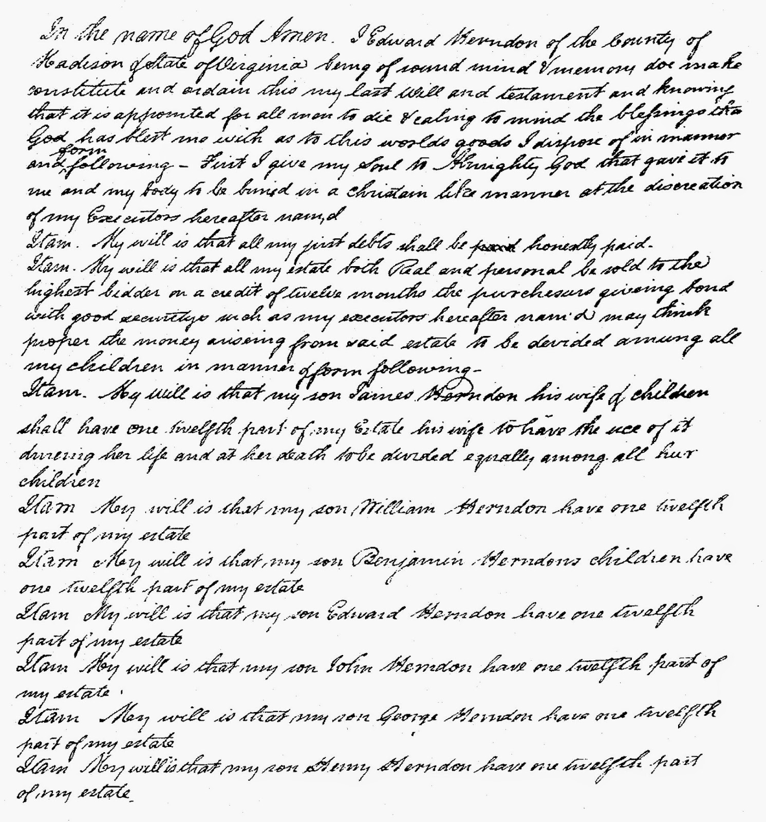 Will of Edward Herndon, Madison County, Virginia dated 1822  http://jollettetc.blogspot.com