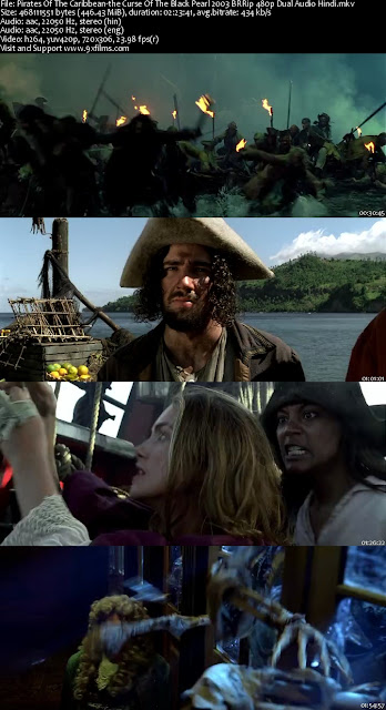 Pirates Of The Caribbean-the Curse Of The Black Pearl 2003 BRRip 480p Dual Audio Hindi
