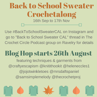 Back to school sweater crochet along graphic