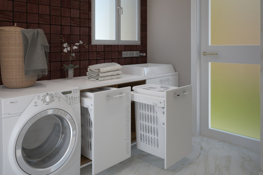 Cesto ropa extraible mueble tu cocina y ba o for Lavadero de cocina con mueble