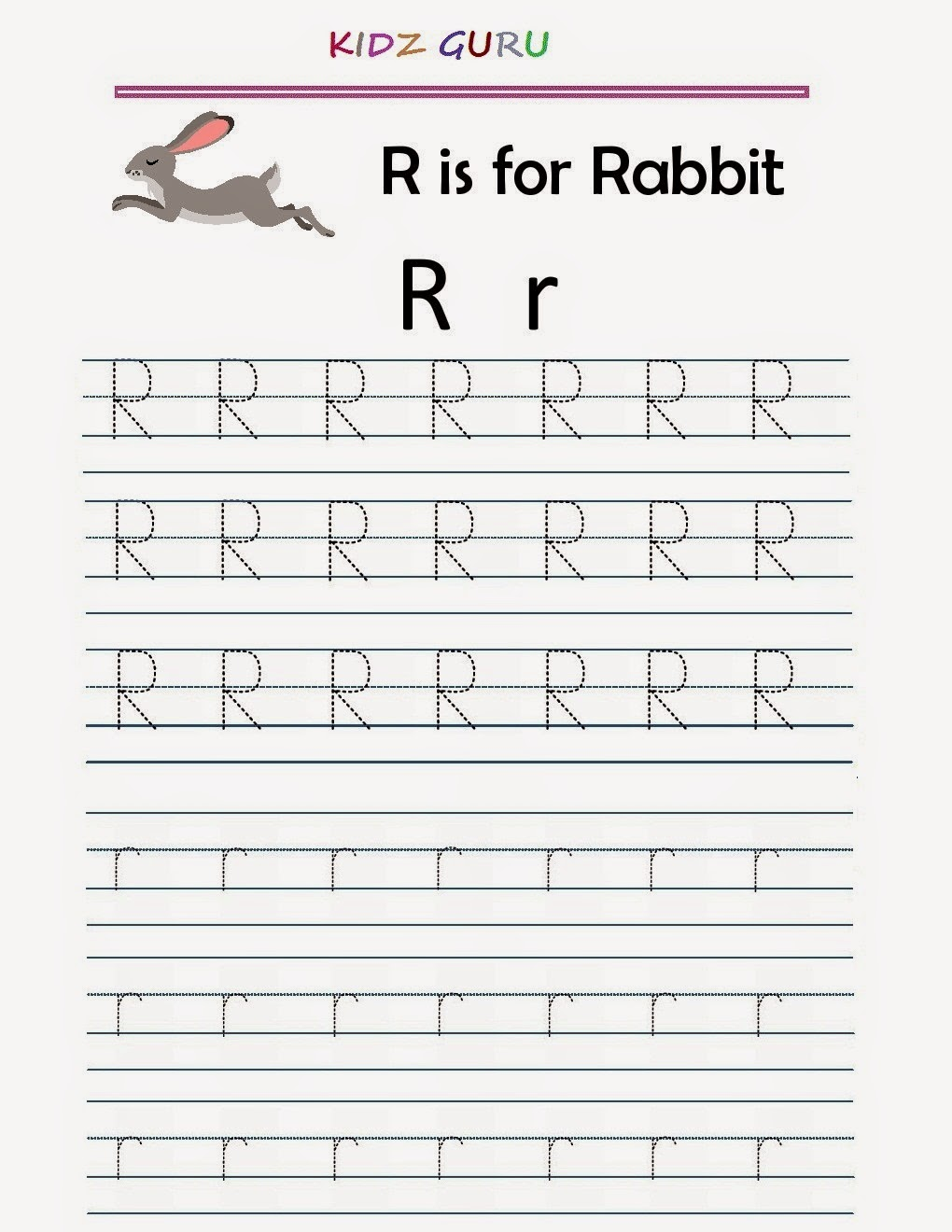 kindergarten worksheets printable tracing worksheet alphabet r r. Black Bedroom Furniture Sets. Home Design Ideas