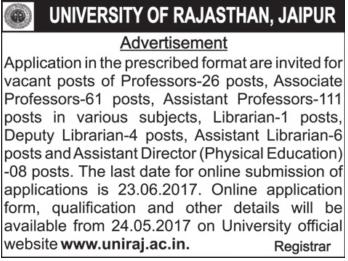 Rajasthan University Recruitment 2017 uniraj.ac.in Apply Online Form