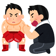 ボクサーとセコンドのイラスト(男性)