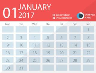 January 2017 timetable calendar