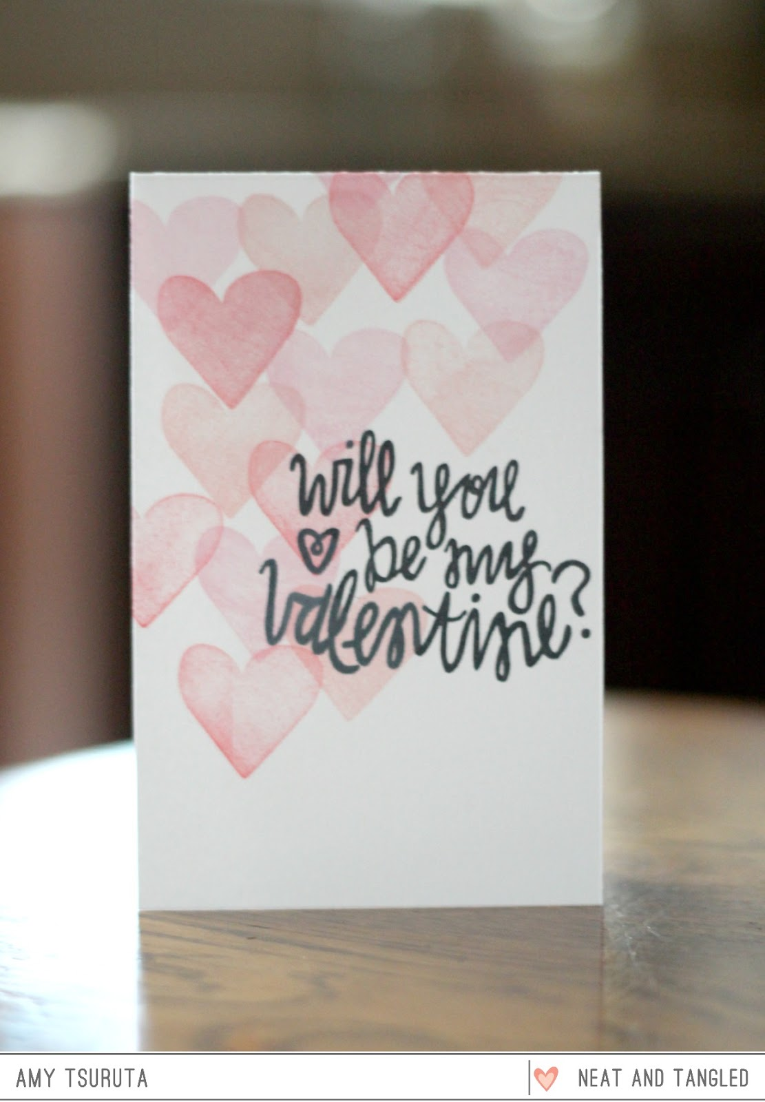 Valentine's Day Cards Stamped Hearts DIY Valentine Card Inspiration Will You Be My Valentine
