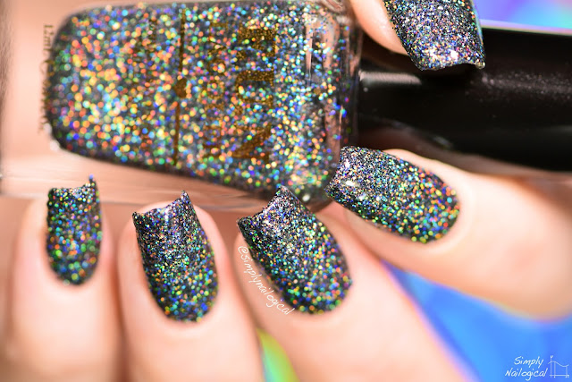 Black Nail Polish With Holographic Glitter