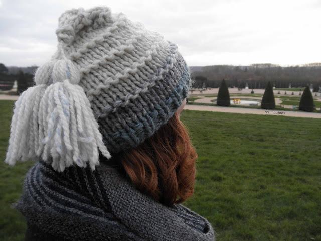 bonnet en tricot avec laine dégradée