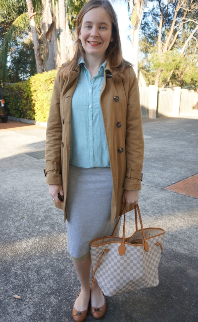 Away from Blue | Trench, grey jersey pencil skirt, pinstripe shirt office wear