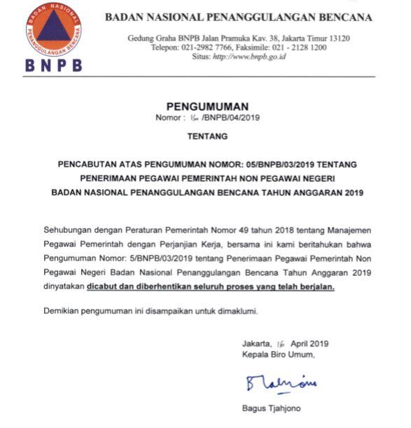 Pengumuman Tentang Pencabutan Atas Rekrutmen PPNPN Badan Nasional Penanggulangan Bencana
